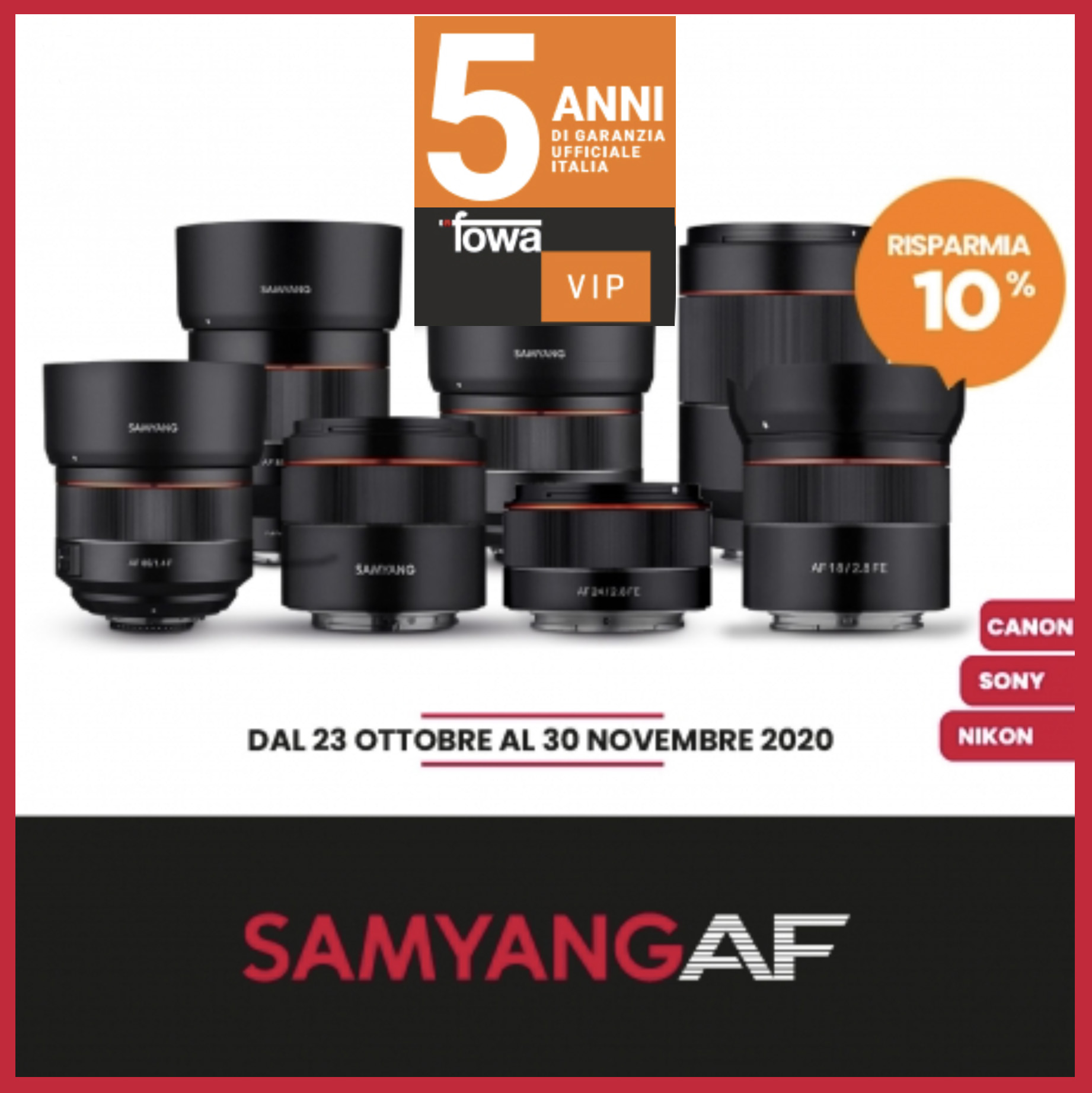 SAMYANG AF 10% DI SCONTO IMMEDIATO